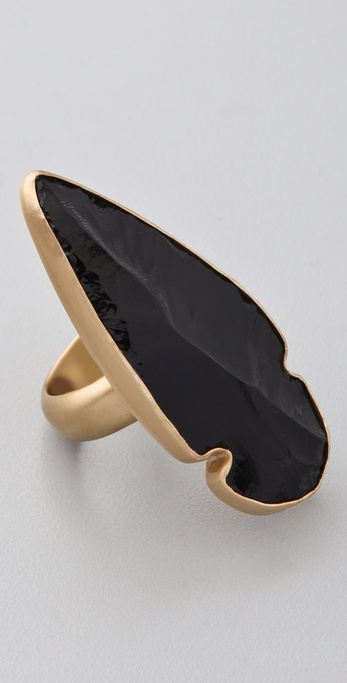 Obsidian Arrowhead Ring