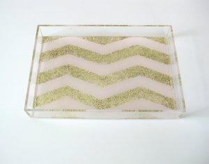 Glitter Chevron Tray
