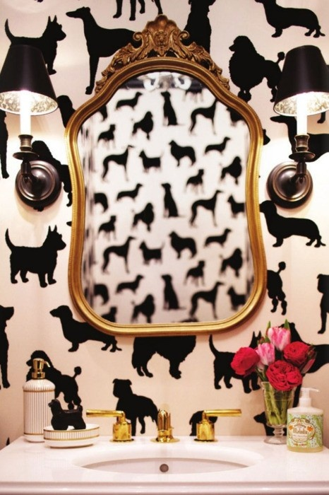bold bathroom, wallpaper, animal wallpaper, dog wallpaper, powder room, decor, interior decorating