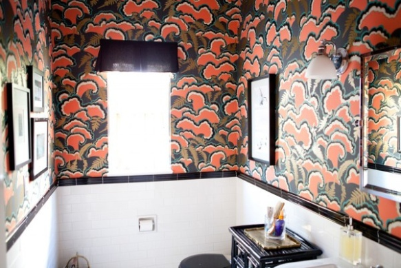 Bold Bathrooms, Lush by Mary Kysar, wallpaper, interior decorating