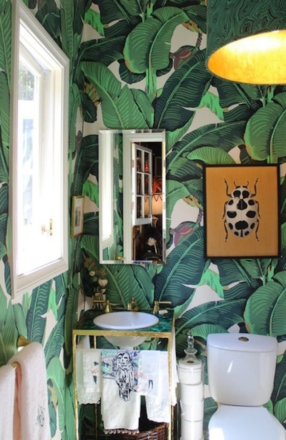 bold bathroom, decor, home decor, decorating, palm, powder room, wallpaper