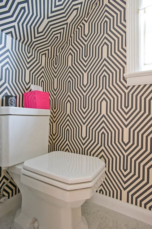 bold bathrooms, powder room, wallpaper, bathroom decor, home decor, home, decoration