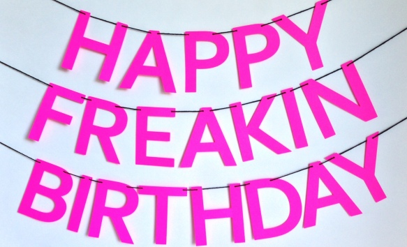 lampshade bash // neon pink happy freakin birthday banner